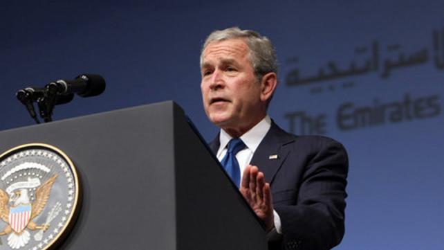 President George W. Bush delivers remarks in Abu Dhabi, United Arab Emirates,