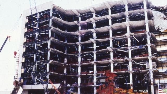 Oklahoma City, OK, April 26, 1995 -- A scene of the devastated Murrah Building following the Oklahoma City bombing. FEMA News Photo