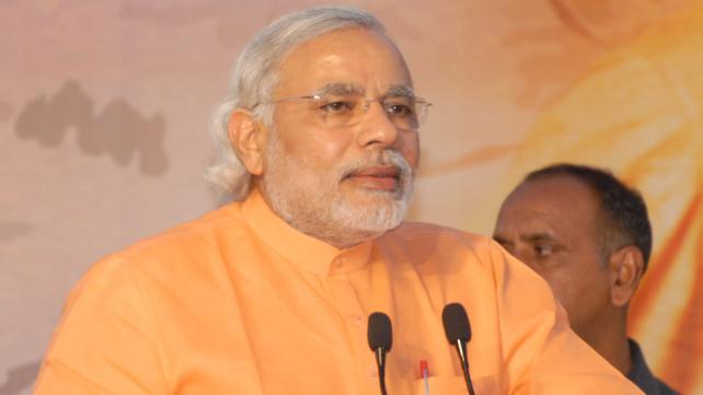 Gujarat Chief Minister Narendra Modi in Sanand district