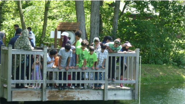 kids at a lake watching
