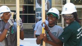 Volunteers with Habitat for Humanity