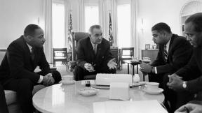"""Lyndon Johnson meeting with civil rights leaders"" by Yoichi R. Okamoto"